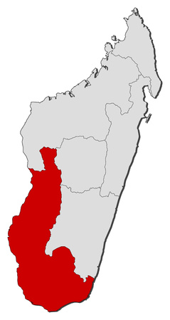 provinces: Map of Madagascar with the provinces, Toliara is highlighted.
