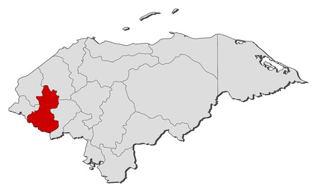 highlighted: Map of Honduras with the provinces, Lempira is highlighted.