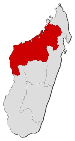 republique: Map of Madagascar with the provinces, Mahajanga is highlighted.