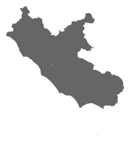 lazio: Map of Lazio, a province of Italy.