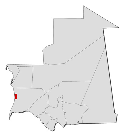 Map of Mauritania with the provinces, Nouakchott is highlighted.