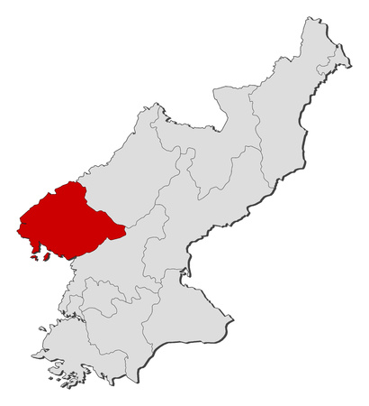Map of North Korea with the provinces, North Pyongan is highlighted.