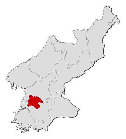 pyongyang: Map of North Korea with the provinces, Pyongyang is highlighted.