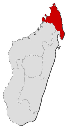 republique: Map of Madagascar with the provinces, Antsiranana is highlighted.