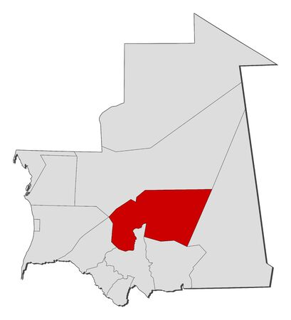 highlighted: Map of Mauritania with the provinces, Tagant is highlighted. Illustration