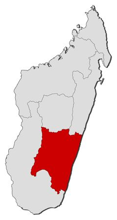 Map of Madagascar with the provinces, Fianarantsoa is highlighted.