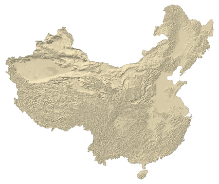 prc: Map of China with shaded relief.