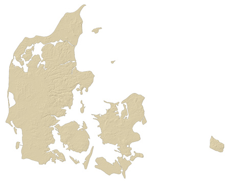 danmark: Map of Danmark with shaded relief.