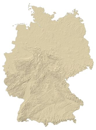 federal republic of germany: Map of Germany with shaded relief.
