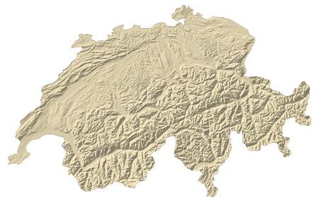 Map of Swizerland with shaded relief. Stock Photo