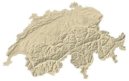 schweiz: Map of Swizerland with shaded relief. Stock Photo
