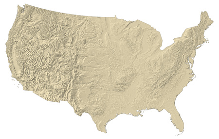 Map of United States with shaded relief.