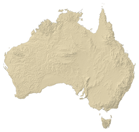 australie: Map of Australia with shaded relief.