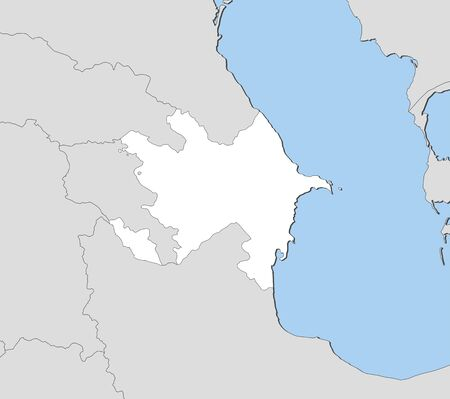southwest asia: Map of Azerbaijan and nearby countries, Azerbaijan is highlighted in white.