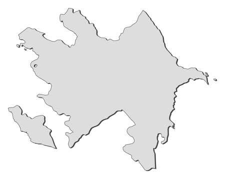 southwestern asia: Map of Azerbaijan, filled in gray. Illustration