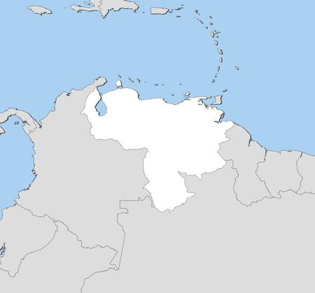 mapa de venezuela: Map of Venezuela and nearby countries, Venezuela is highlighted in white.