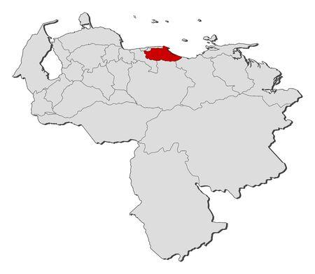 mapa de venezuela: Map of Venezuela with the provinces, Merida is highlighted.