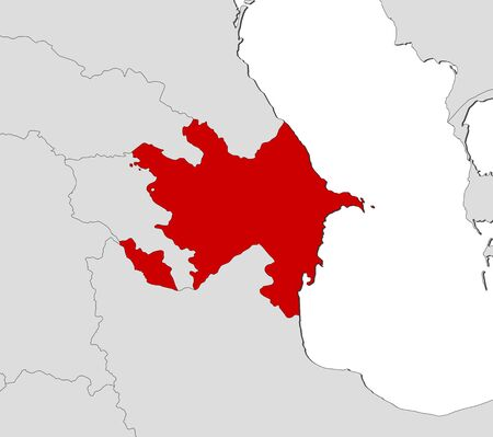 western asia: Map of Azerbaijan and nearby countries, Azerbaijan is highlighted in red.