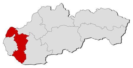 highlighted: Map of Slovakia with the provinces, Trnava is highlighted. Illustration