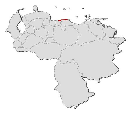 Map of Venezuela with the provinces, Vargas is highlighted.
