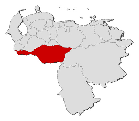 highlighted: Map of Venezuela with the provinces, Apure is highlighted.