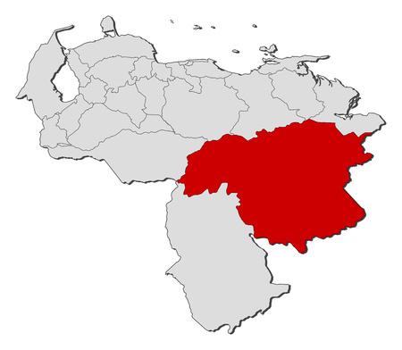 mapa de venezuela: Mapa de Venezuela con las provincias, Bolívar se pone de relieve.