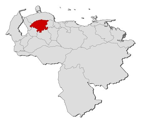 highlighted: Map of Venezuela with the provinces, Lara is highlighted.