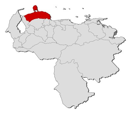 Map of Venezuela with the provinces, Falcon is highlighted.