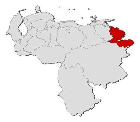 delta: Map of Venezuela with the provinces, Delta Amacuro is highlighted.