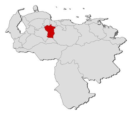 mapa de venezuela: Mapa de Venezuela con las provincias, Cojedes se pone de relieve. Vectores