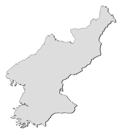 north korea: Map of North Korea, filled in gray.