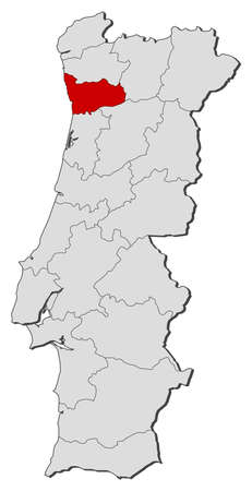 Map of Portugal with the provinces, Porto is highlighted.