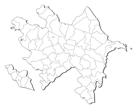 southwestern asia: Map of Azerbaijan, contous as a black line. Illustration