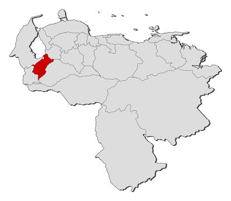 Map of Venezuela with the provinces, Miranda is highlighted.