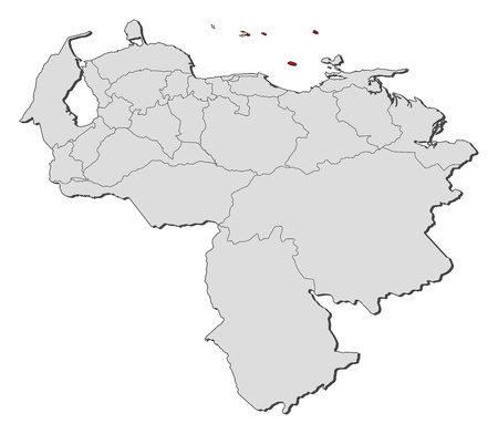 Map of Venezuela with the provinces, Federal Dependencies is highlighted.