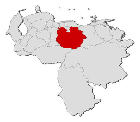 highlighted: Map of Venezuela with the provinces, Guarico is highlighted. Illustration