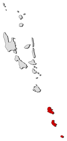 highlighted: Map of Vanuatu with the provinces, Tafea is highlighted. Illustration