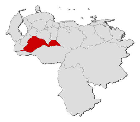 Map of Venezuela with the provinces, Barinas is highlighted.