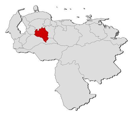 mapa de venezuela: Map of Venezuela with the provinces, Portuguesa is highlighted.