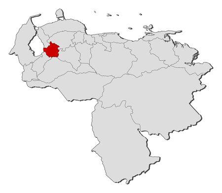 mapa de venezuela: Map of Venezuela with the provinces, Trujillo is highlighted.