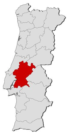 Map of Portugal with the provinces, Santarem is highlighted.