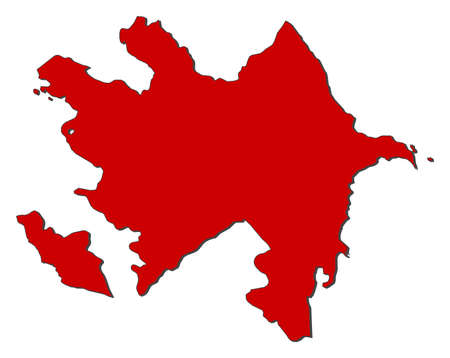 southwestern asia: Map of Azerbaijan with the provinces, colored in red.