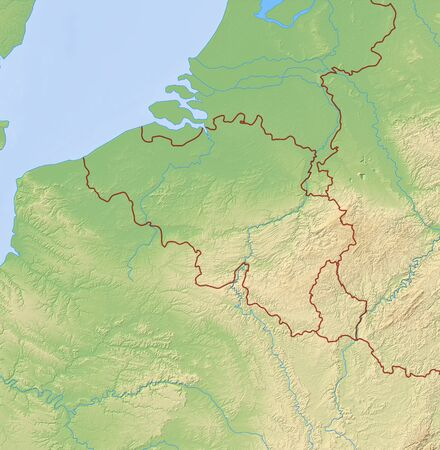 frontiers: Relief Map of Belgium and nearby countries.