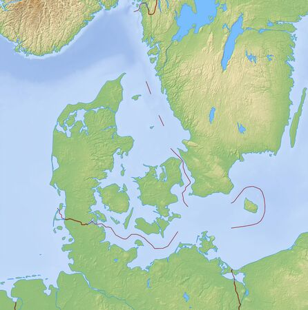 danmark: Relief Map of Danmark and nearby countries. Stock Photo