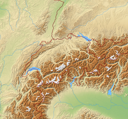 Relief Map of Swizerland and nearby countries.