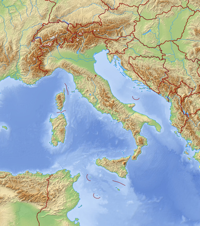 frontiers: Relief Map of Italy and nearby countries.