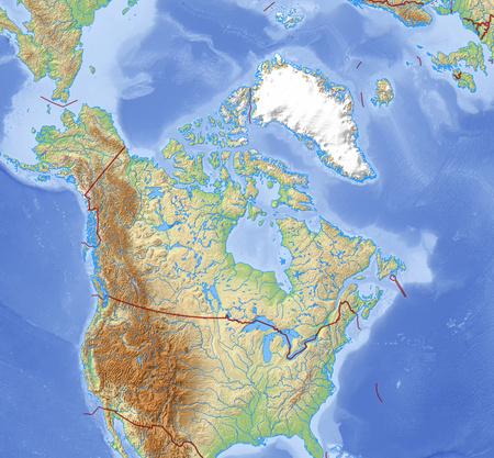 Mappa dei rilievi del Canada e paesi vicini. Archivio Fotografico