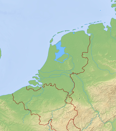 Relief Map of Netherlands and nearby countries.