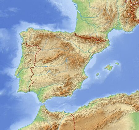 Relief Map of Spain and nearby countries.