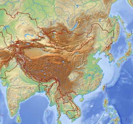 prc: Relief Map of China and nearby countries.